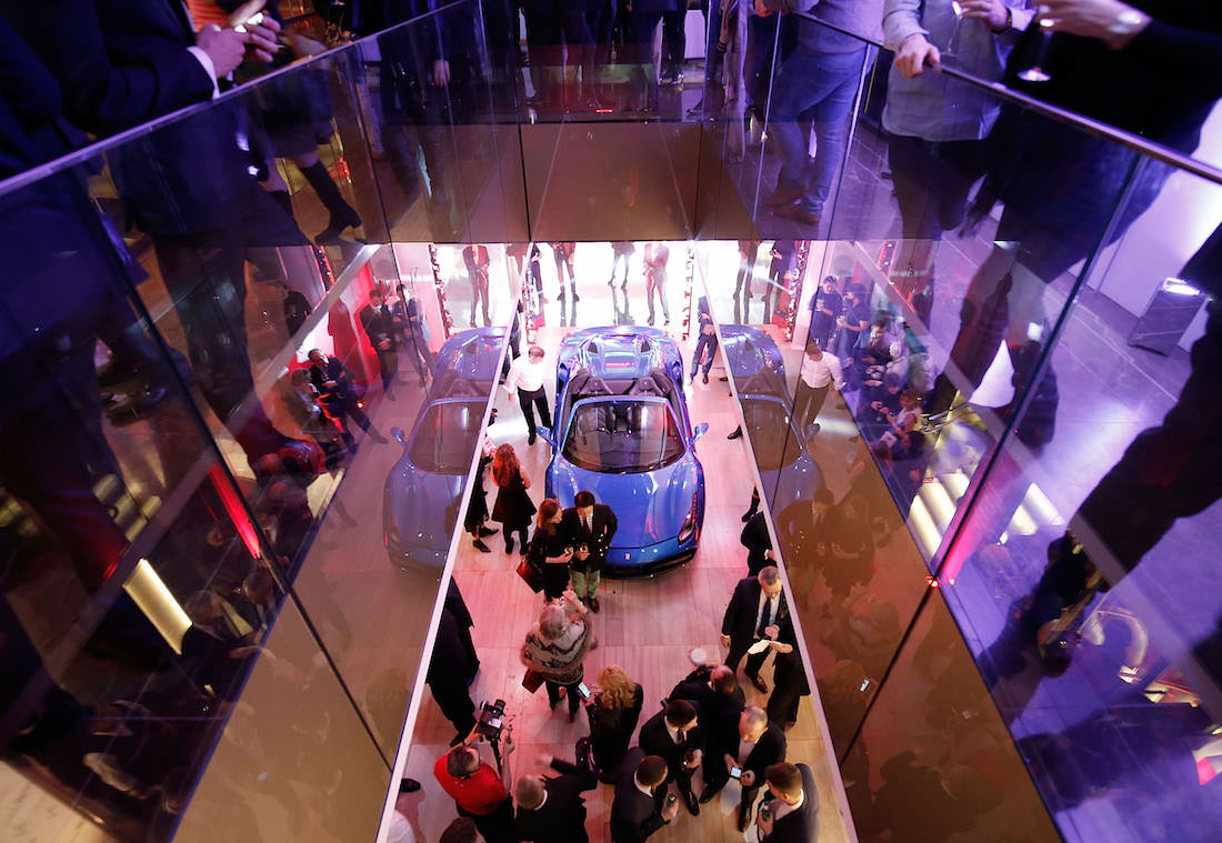 LONDON, ENGLAND - FEBRUARY 25:  The UK launch of the Ferrari 488 Spider at Watches of Switzerland on February 25, 2016 in London, England.  (Photo by John Phillips/Getty Images for Ferrari)