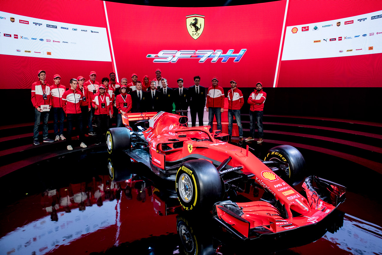 ferrari reveals its 2018 formula 1 car the sf71h. Black Bedroom Furniture Sets. Home Design Ideas